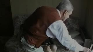 Young brunette fucks with an old man