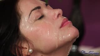Ava Dalush sucks to get a cum facial