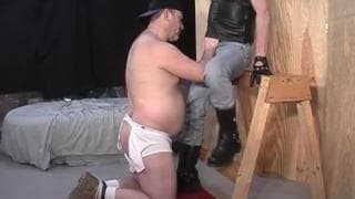 This mature guy enjoys a young cock