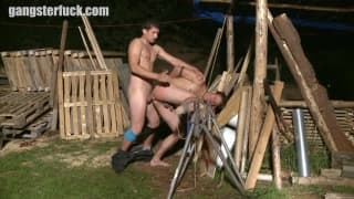 A man is tied up and fucked from behind