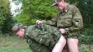Two gay soldiers enjoy their private time
