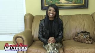 Cynthia is a gorgeous black girl at a casting