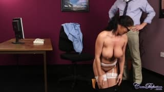 This slutty secretary has three men!