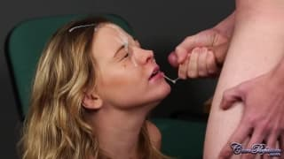 A cumshot on her face in full HD!