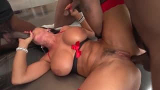 Lisa Ann in an interracial gangbang!