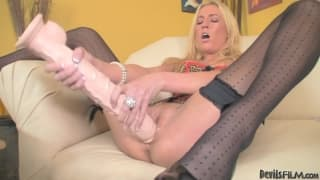 Victoria White sucks a dildo for fun!