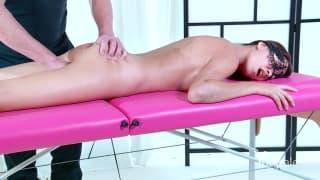 A seductive brunette has a great massage