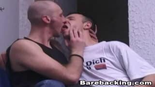 Horny gay men fucking with no condom.