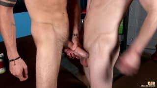 Two gay pornstars enjoy their cocks together