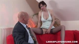 Lara Latex makes a bald man surrender!