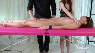 she is blindfolded throughout a massage