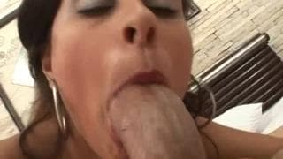This latin bitch is fucked in bed