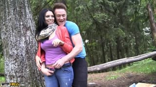 Kira has a fuck in the woods which she enjoys