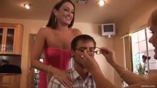 Three women all enjoy one guy for sex!