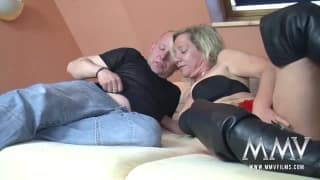 Mature blonde makes the most of his dick