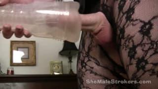 Allana Hallure strokes her shemale dick