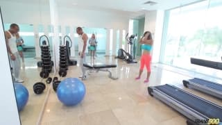 Naomi Chi is a hot shemale exercising