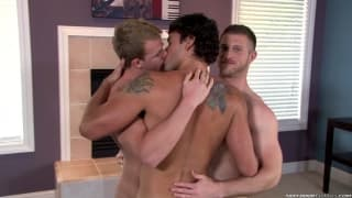 Three gay guys love playing with cock