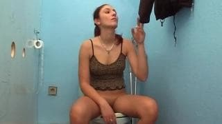 Simona enjoys herself with a gloryhole