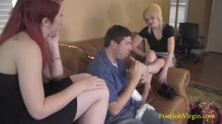 Lily and Morgan give a good footjob