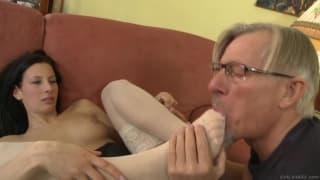 Grandpa gets to feed this young girl