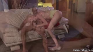This blonde is fucked while her man watches