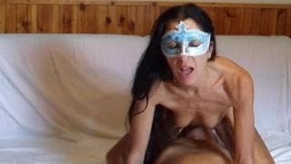 Mature sex while wearing a mask