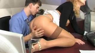 This blonde cougar teases this young guy