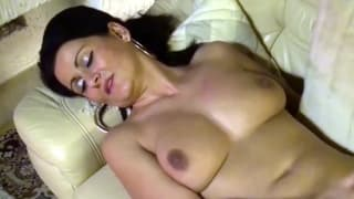 A pretty Latin babe is playing with a dick