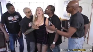 Cherie DeVille has fun in a gangbang