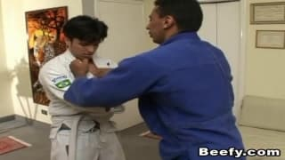 Two guys finish karate to sodomize!