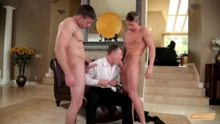 Three gay mates suck and fuck all day!