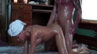 Oiled mature couple fuck in various positions