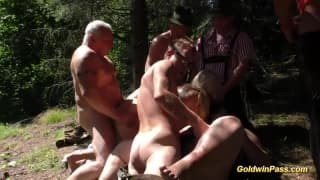 Group sex in the forest for these guys!