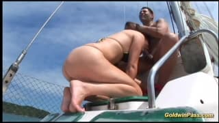 Horny bitch gets it in the ass on a boat