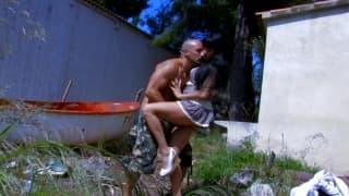 Damaris fucks outdoors with her man
