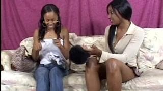 Two black lesbians fuck each other with toys