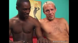A white guy has his ass nailed by a black guy