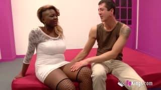 Juliette puts his dick between her boobs