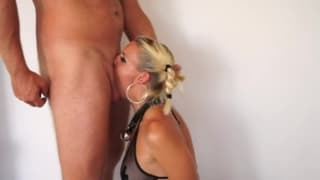 This blonde is a professional deepthroater!