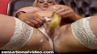 Blonde with huge tits plays with cream!