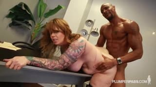 Fat tattooed bitch gets nailed by black cock