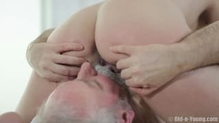 A blonde has her pussy licked by an old guy