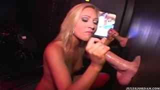 This blonde enjoys sex through a gloryhole