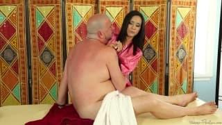 Tia Cyrus gives James Bartholet a massage