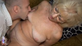 This old blonde likes her pussy rubbed