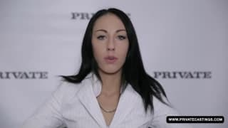 A pretty brunette in her first porn casting