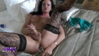 Lana is trans who masturbates with a dildo