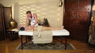 Amanda Tate has a massage from Ryan McLane