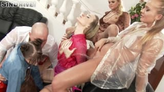 A group sex scene with these hot bitches